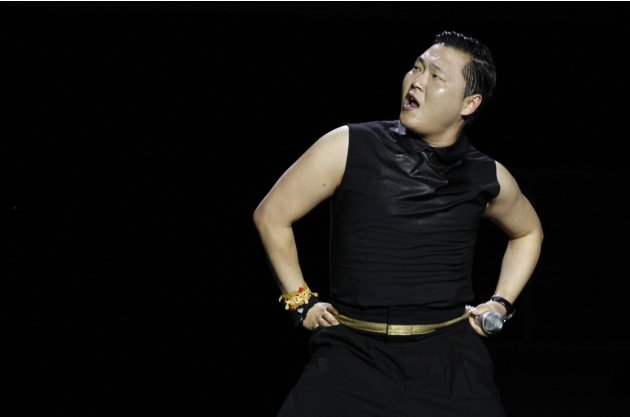 South Korean singer Psy performs during the Singapore Social Concert at the Gardens By the Bay