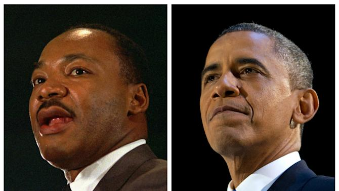 FILE - In this combination of file photos, the Rev. Martin Luther King Jr. speaks at a peace rally in New York on April 15, 1967, left, and President Barack Obama speaks at an election night party in Chicago after winning a second term in office on Nov. 7, 2012. Inauguration Day coincides with the King holiday, marking what some say is an inextricable tie between the nation's first black president and the civil rights movement. Obama plans to incorporate the legacy of that movement into his inauguration. (AP Photo, File)