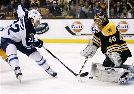 Horton scores 2 to lead Bruins past Jets, 5-3