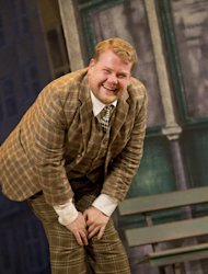 "In this theater image released by Boneau/Bryan-Brown, James Corden is shown in a scene from ""One Man, Two Guvnors,"" performing at the Music Box Theatre in New York. (AP Photo/Boneau/Bryan-Brown, Joan Marcus)"