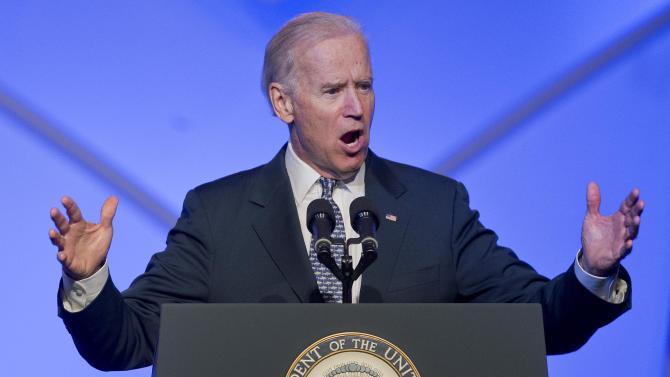 Vice President Joe Biden speaks at the 84th annual League of United Latin American Citizens convention,Thursday, June 20, 2013, in Las Vegas. Biden stressed the importance of maintaining efforts to pass immigration reform in Congress this summer. (AP Photo/Julie Jacobson)