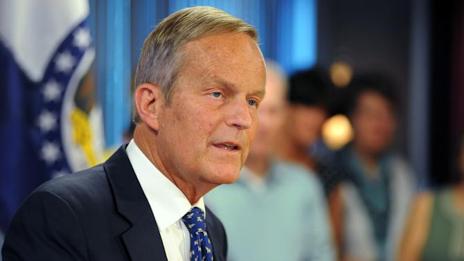 U.S. Rep. Todd Akin, R-Mo., addresses members of the media in Chesterfield, Mo., Friday, Aug. 24, 2012, where he confirmed his plans to remain in Missouri's U.S. Senate race despite a political uproar over remarks he made about rape and pregnancy. (AP Photo/Sid Hastings)