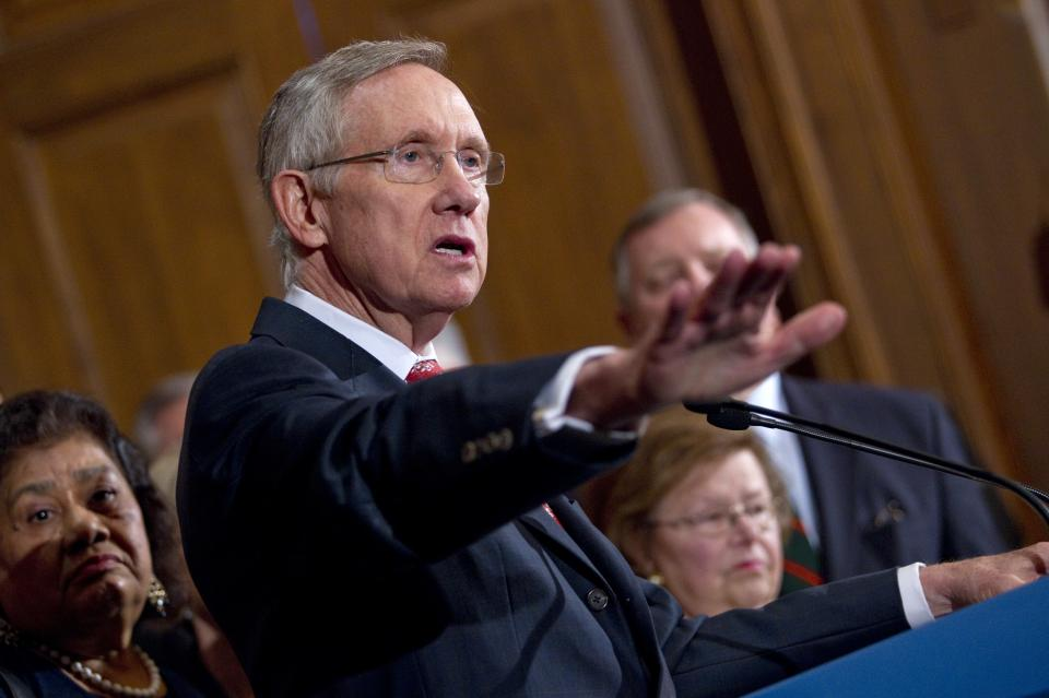 Senate Majority Leader Sen. Harry Reid, D-Nev., speaks during a news conference on debt ceiling legislation on Capitol Hill on Saturday, July 30, 2011, in Washington.  White House aides said Obama would receive an update Saturday from Reid and House Minority Leader Nancy Pelosi. (AP Photo/Evan Vucci)