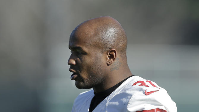 San Francisco 49ers safety Donte Whitner practices at an NFL football training facility in Santa Clara, Calif., Friday, Jan. 25, 2013. The 49ers are scheduled to play the Baltimore Ravens in the Super Bowl on Sunday, Feb. 3. (AP Photo/Jeff Chiu)