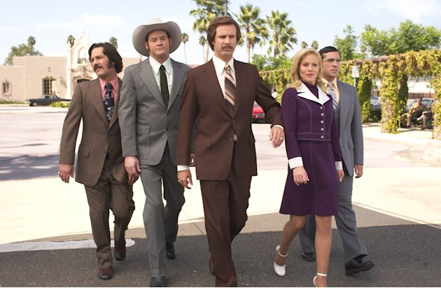 Paul Rudd David Koechner Will Ferrell Christina Applegate Steve Carell Anchorman: The Legend of Ron Burgundy Production Stills DreamWorks 2003