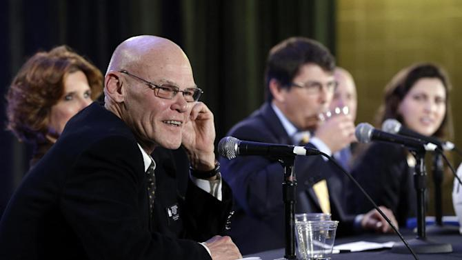 Political commentator James Carville speaks during an NFL football Super Bowl XLVII news conference on Monday, Jan. 28, 2013, in New Orleans. (AP Photo/Patrick Semansky)