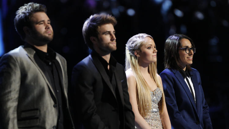 "In this image provided by NBC  from left Zach Swon, Colton Swon of The Swon Brothers, Danielle Bradbery and Michelle Chamuel pose during season-four of ""The Voice"" Tuesday June 18, 2013. Bradbery won, Chamuel is the runner-up and The Swon Brothers finished third. Bradbery never had a big singing gig or a vocal lesson. It's also the third win for her coach Blake Shelton.  (AP Photo/NBC, Trae Patton)"