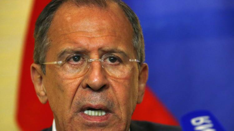 Russian Foreign Minister Lavrov speaks to media after talks on situation in Ukraine in Geneva