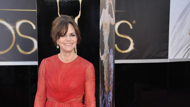 Actress Sally Field arrives at the Oscars at the Dolby Theatre on Sunday Feb. 24, 2013, in Los Angeles. (Photo by John Shearer/Invision/AP)