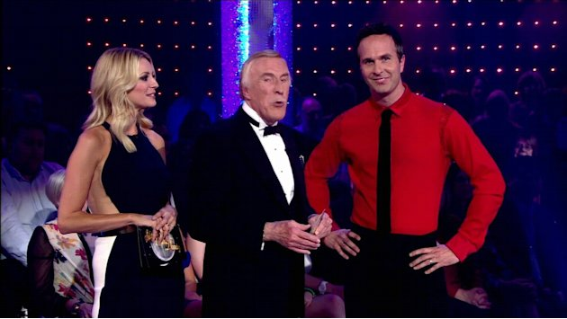 Michael Vaughan appear with Bruce Forsyth and Tess Daly on ' Strictly Come Dancing ' Shown on BBC1 HD