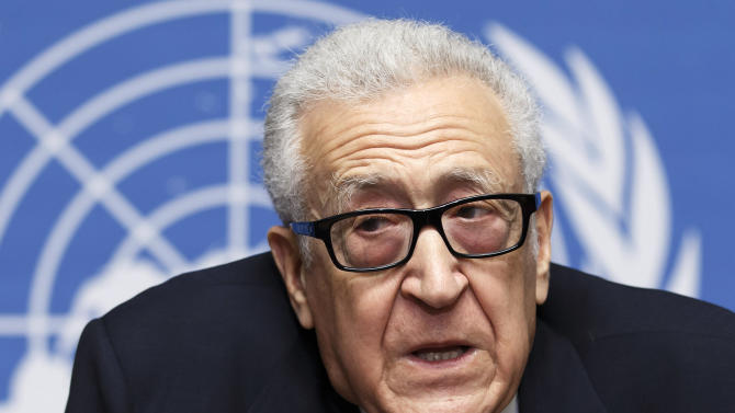 UN-Arab League envoy for Syria Lakhdar Brahimi speaks during a news conference after closing the second round of negotiation between the Syrian government and the opposition at the European headquarters of the United Nations, in Geneva, Switzerland, Saturday, Feb. 15, 2014. Brahimi ended direct talks between the Syrian government and opposition Saturday without finding a way of breaking the impasse in peace talks. Saturday's talks, which lasted less than half an hour, left the future of the negotiating process in doubt. (AP Photo/Keystone, Salvatore Di Nolfi)