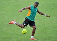 Ivory Coast national football team's player Didier Drogba kicks a ball during a training session in Abidjan, in May 2012. Ivory Coast were paired with Senegal in the highlight of the final qualifying round draw for the 2013 Africa Cup of Nations in South Africa made here Thursday