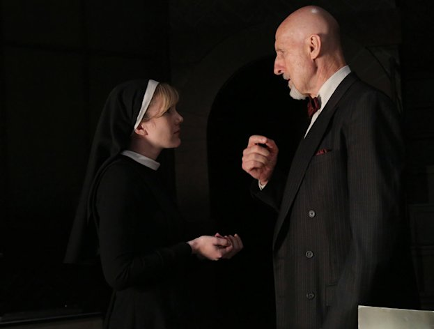 "Lily Rabe as Sister Mary Eunice and James Cromwell as Dr. Arthur Arden in the ""American Horror Story: Asylum"" episode, ""The Origins of Monstrosity."""