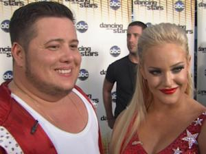 Chaz Bono and partner Lacey Schwimmer chat with Access Hollywood after 'Dancing with the Stars' on October 11, 2011 -- Access Hollywood
