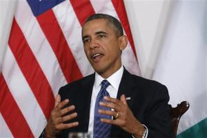 U.S. President Obama speaks during his meeting with Nigeria's President Jonathan in New York