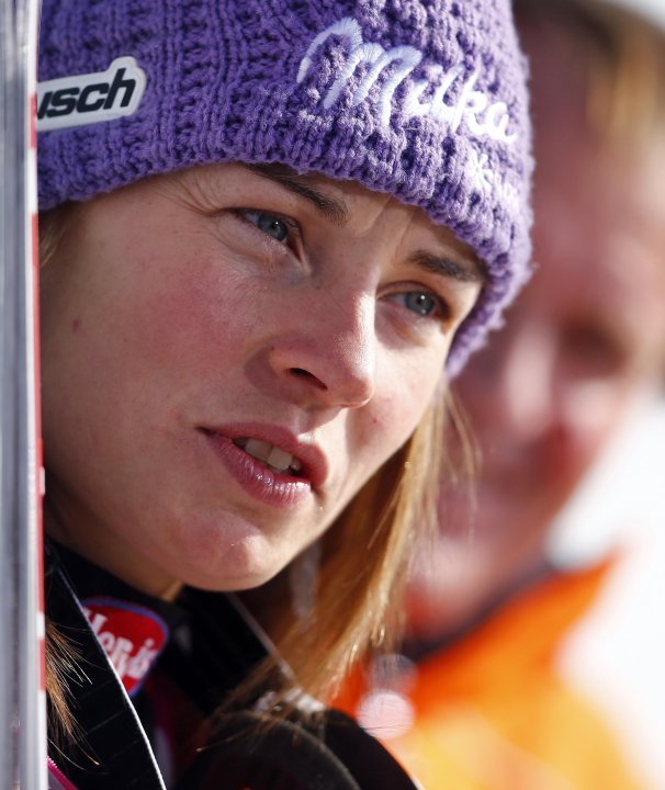 Slovenia's Maze frowns after the women's Alpine Skiing World Cup super-G race in Garmisch-Partenkirchen