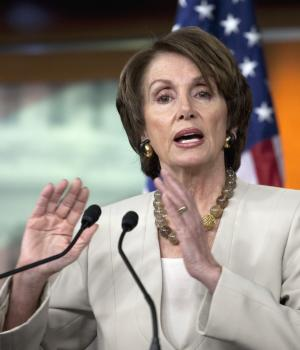 House Minority Leader Nancy Pelosi of Calif. gestures during her weekly news conference on Capitol Hill in Washington, Thursday, Nov. 17, 2011. (AP Photo/Harry Hamburg)