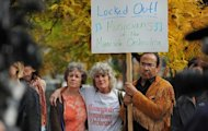 In this photo taken Monday Oct. 1, 2012, Minnesota Orchestra musicians locked out in contract dispute rally at 11th St and Nicollet Mall near Peavey Plaza In Minneapolis, Minn. The Minnesota Orchestra was called the world&#39;s greatest not long ago, welcome recognition for musicians outside a top cultural center. Now its members are locked out of Orchestra Hall, stuck in the same kind of labor-management battle recently afflicting teachers and football referees. (AP Photo/The Star Tribune, Richard Sennott)