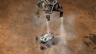 This illustration depicts the moment immediately after the Curiosity rover touches down on the Red Planet.