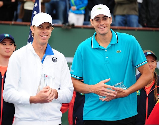 Sam Querrey (L) And John Isner (R) Pose With The Men's Doubles AFP/Getty Images