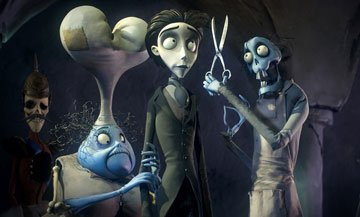 Mrs. Plum (voiced by Jane Horrocks ) and Victor Van Dort (voiced by Johnny Depp ) in Warner Bros. Pictures' stop-motion animated film Tim Burton's Corpse Bride