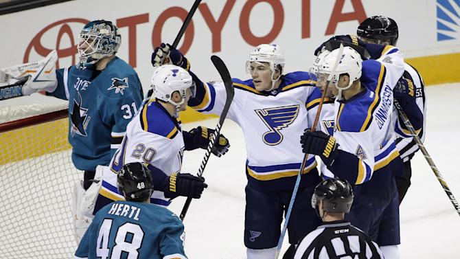 Oshie scores 3 to lead Blues past Sharks 7-2