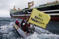 Image provided by Greenpeace shows activists intercepting the FV Margiris super-trawler, recently reflagged as the Abel Tasman, as it attempts to enter Port Lincoln on August 30. The Australian government Tuesday announced plans to change its environmental protection laws to prevent the trawler from fishing in its waters