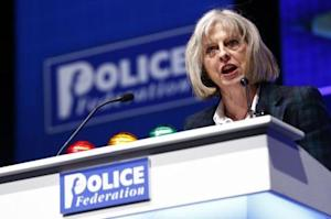 Britain's Home Secretary Theresa May addresses the Police Federation's conference in Bournemouth