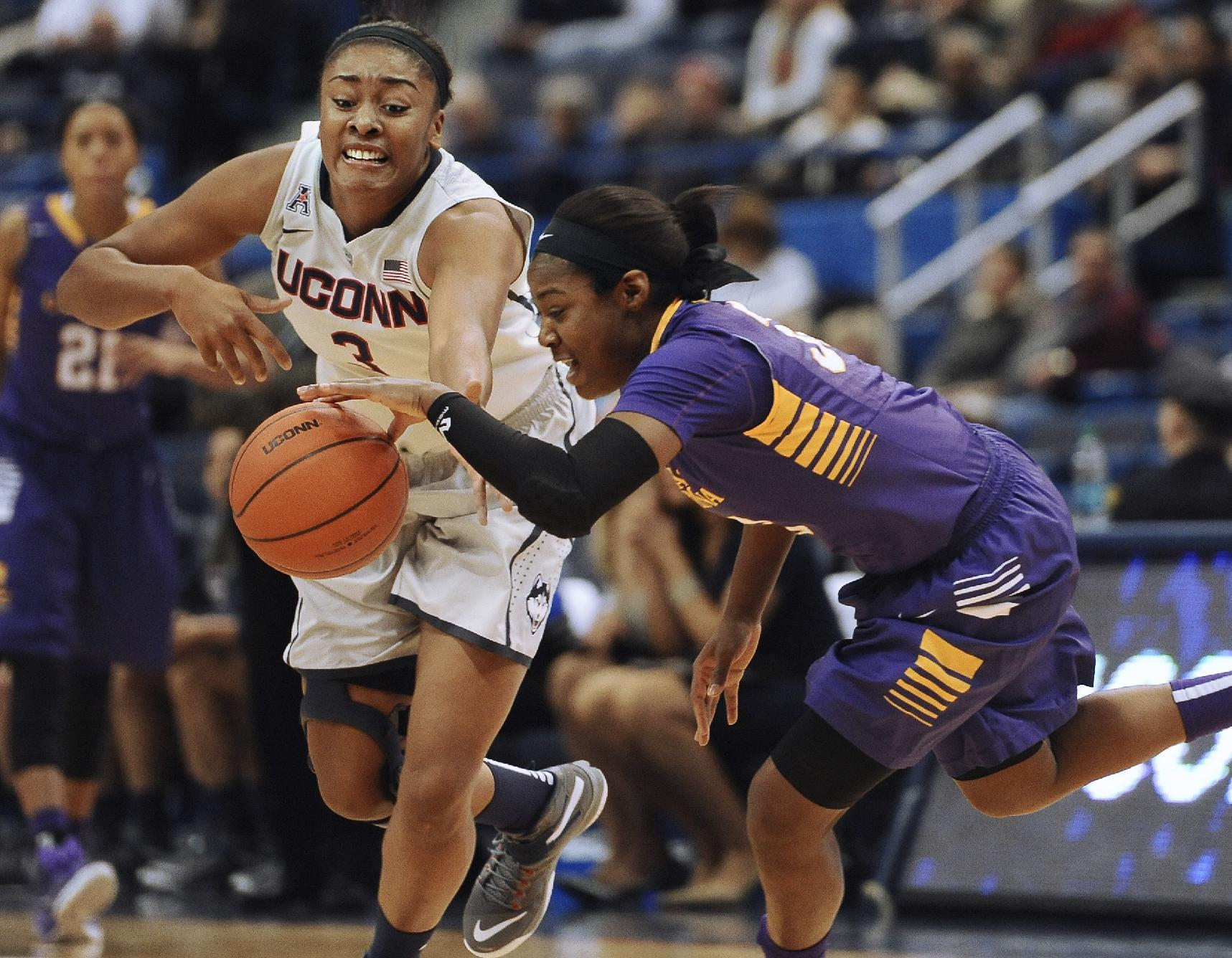 Stokes triple-double leads Huskies over East Carolina 87-32
