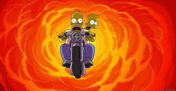 Homer Simpson (voiced by Dan Castellaneta ) and Bart Simpson (voiced by Nancy Cartwright ) in 20th Century Fox's The Simpsons Movie