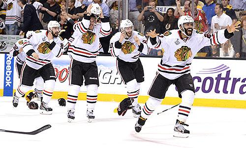 2013 Stanley Cup Final: Chicago Blackhawks players celebrate 2013 NHL title