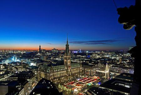 A general view of the Christmas market in front of the historical town hall in Hamburg