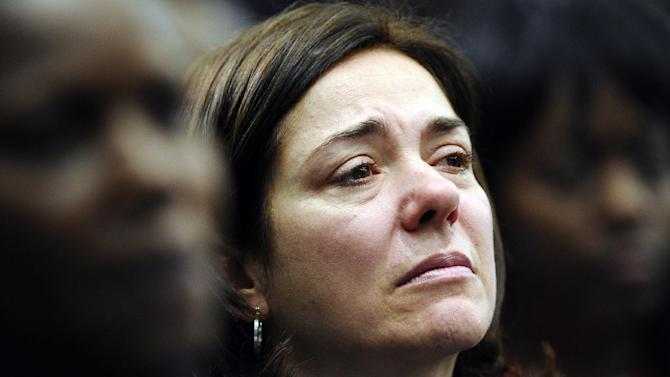 Francine Wheeler, mother of Sandy Hook Elementary School shooting victim Benjamin Wheeler, cries as she listens to Vice President Joe Biden speak during a gun violence conference in Danbury, Conn., Thursday, Feb. 21, 2013. The conference was held near the Newtown, Conn. where 26 lives were lost in the Sandy Hook Elementary School shooting, was organized by members of the state's congressional delegation is to push President Barack Obama's gun control proposals. (AP Photo/Jessica Hill)