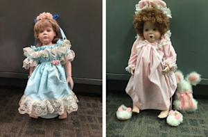 Handout of a combination photo showing two of the porcelain dolls found on doorsteps of numerous residences in the Talega community of San Clemente