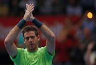 Juan Martin del Potro, pictured on October 21, struggled into the Swiss Indoors semi-finals on Friday by beating South African Kevin Anderson 3-6, 7-6 (7/3), 6-2, a day after qualifying for the year-ending World Tour Finals