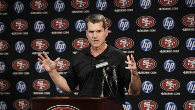 San Francisco 49ers head coach Jim Harbaugh talks to the media during an NFL football press conference in Santa Clara, Calif., Monday, July 25, 2011. (AP Photo/Marcio Jose Sanchez)