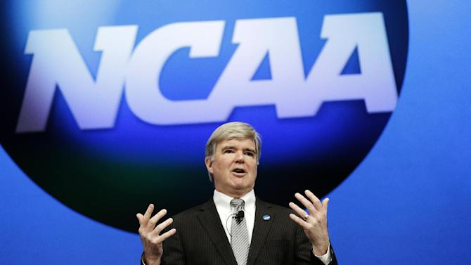 "FILE - In this Jan. 17, 2013, file photo, NCAA President Mark Emmert speaks at the organization's annual convention in Grapevine, Texas. The NCAA is revealing that it has found ""an issue of improper conduct"" within its own enforcement program during its investigation into the compliance practices of Miami's athletic department.  Emmert has ordered an external review of the enforcement program. Miami will not receive its notice of allegations until that review is complete. (AP Photo/LM Otero, File)"