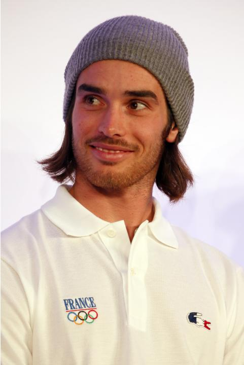 French freestyle skier Kevin Rolland attends a presentation of the French Olympic team in Paris for the 2014 Winter Olympics in Sochi