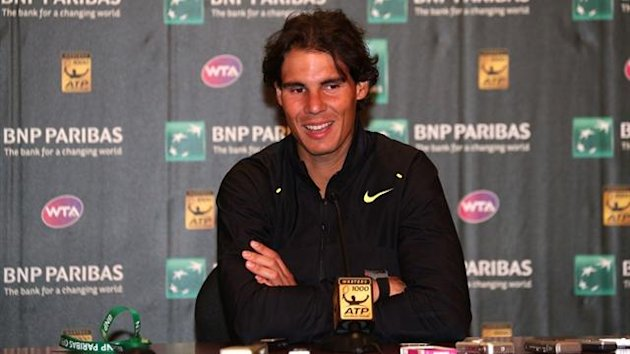 Rafael Nadal of Spain gives a press conference during day two of the BNP Paribas Open at Indian Wells Tennis Garden (AFP)