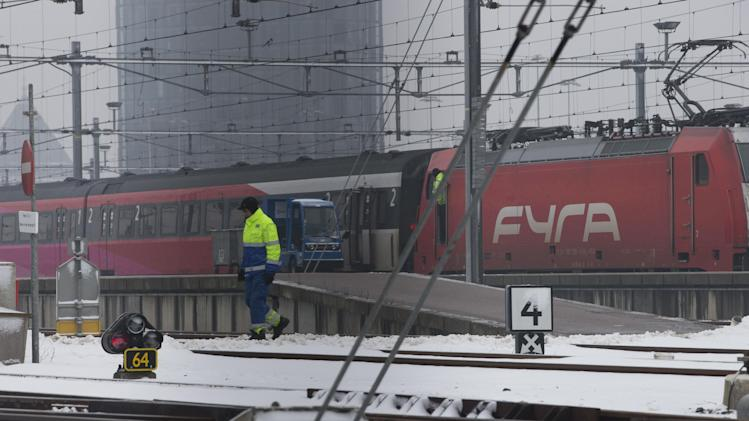 "A Fyra high-speed train, shunted by a locomotive, right, is seen at a railroad siding in Amsterdam, Netherlands, Monday Jan. 21, 2013. When railroad bosses proudly unveiled their new Fyra train connecting Amsterdam and Brussels they called it the ""missing link"" in Europe's high-speed rail network. Now, the Italian-built trains are missing in action. Technical problems dogged the 250-kmh (155-mph) trains since they came into service last month, repeatedly delaying trips between the Dutch and Belgian capitals that were supposed to shave more than an hour off the regular intercity service the Fyra replaced. (AP Photo/Peter Dejong)"