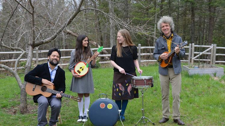 "This April 2013 photo taken in Woodstock, N.Y. and provided by Blake Zidell & Associates shows, from left, Daniel Littleton, Storey Littleton, Elizabeth Mitchell and Dan Zanes. All have collaborated on the new album ""Turn, Turn, Turn,"" a CD of gentle folk tunes for all ages. (AP Photo/Blake Zidell & Associates, Stephanie Mayers)"