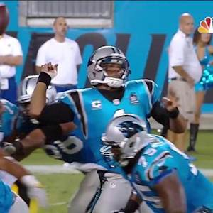 Carolina Panthers quarterback Cam Newton's fumble recovered by Pittsburgh Steelers linebcaker Jason Worilds