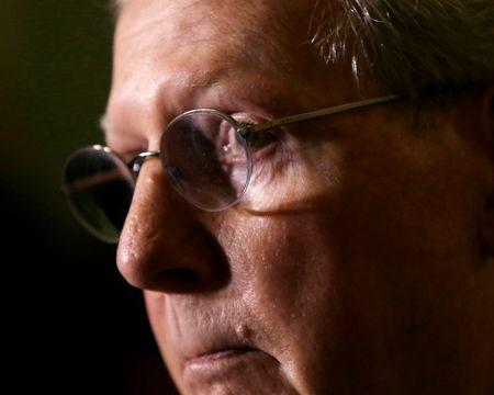 File picture shows U.S. Senate Minority Leader Mitch McConnell talking to reporters in Washington