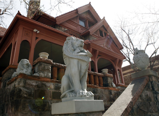 This March 12, 2012 photo shows lions guarding the front of the Molly Brown House Museum in Denver. A few blocks from Colorado's state Capitol _ over 1700 miles from the Atlantic Ocean and a mile abov