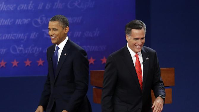 Republican presidential candidate, former Massachusetts Gov. Mitt Romney, right, and President Barack Obama, left, walk on stage at the end of their first debate at the University of Denver, Wednesday, Oct. 3, 2012, in Denver. (AP Photo/Pablo Martinez Monsivais)