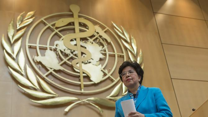 China's Margaret Chan, Director-General of the World Health Organization, WHO, leaves the podium after delivering a speech during the 66th World Health Assembly at the European headquarters of the United Nations in Geneva, Switzerland, Monday, May 20, 2013. (AP Photo/Keystone, Jean-Christophe Bott)