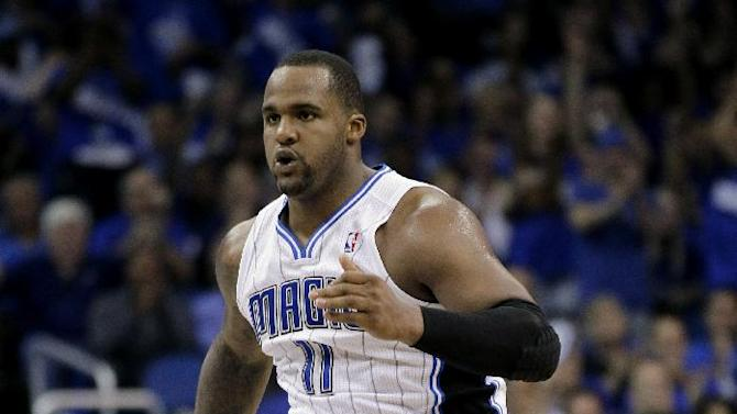 Orlando Magic's Glen Davis jumps up and down after making a shot against the Indiana Pacers during the first half of Game 3 of an NBA first-round playoff basketball series, Wednesday, May 2, 2012, in Orlando, Fla. (AP Photo/John Raoux)