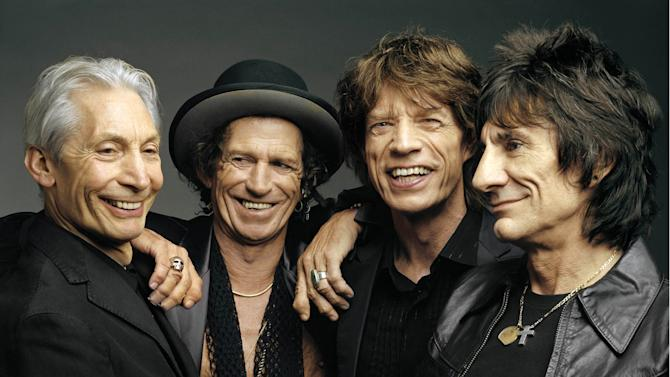 """FILE - This 2005 file photo, originally supplied by the Rolling Stones, shows the group, from left, Charlie Watts, Keith Richards, Mick Jagger, and Ron Wood posing during a photo shoot. The band said Wednesday, April 3, 2013, their """"50 and Counting"""" tour will kick off in Los Angeles at the Staples Center. The date will be announced later. The tour will also visit San Jose, Calif.; Las Vegas; Anaheim, Calif.; Toronto; Chicago; and Boston. The tour wraps on June 18 in Philadelphia. The band will also headline the Glastonbury Festival on June 29 and will perform at London's Hyde Park on July 6.    (AP Photo/The Rolling Stones, Mark Seliger-File)"""