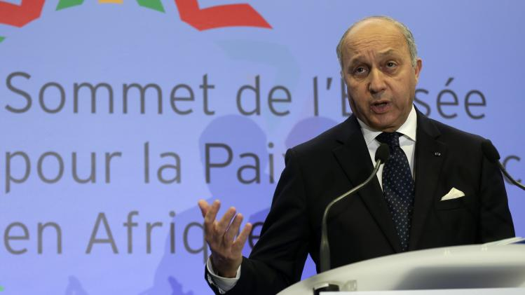 French Foreign Affairs Minister Fabius attends a news conference in Paris after a meeting of Foreign Affairs ministers of African nations as part of the Elysee Summit for Peace and Security in Africa