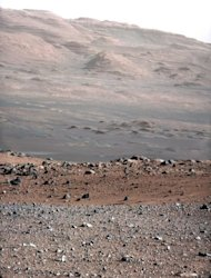 A colour image released by NASA on Tuesday looking towards Mount Sharp, taken last week by the 34-millimeter Mast Camera on NASA's Curiosity rover. The gravelly area around Curiosity's landing site is visible in the foreground